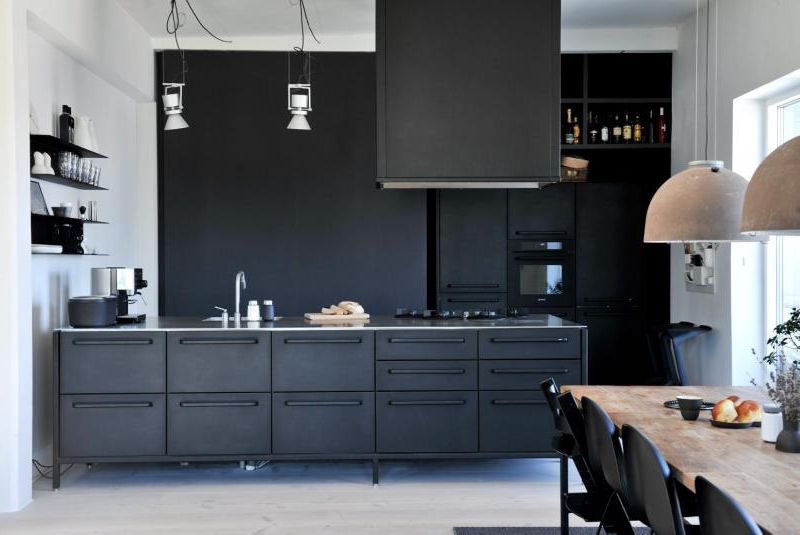 All black kitchen design and form Kitchen design blogs 2014